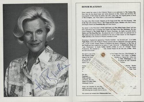 Honor Blackman Dishonorable Ladies - Autographed tour programme UK HB2TRDI577784