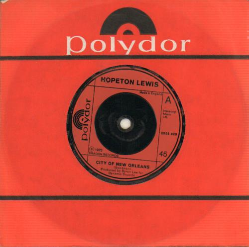 "Hopeton Lewis City Of New Orleans 7"" vinyl single (7 inch record) UK HG207CI643604"