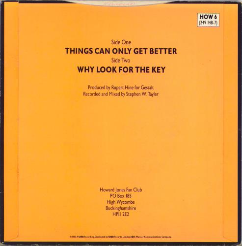 """Howard Jones Things Can Only Get Better - Orange Sleeve 7"""" vinyl single (7 inch record) UK HOW07TH769232"""
