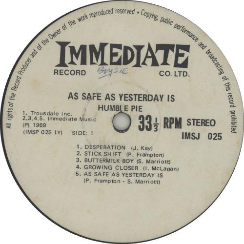 Humble Pie As Safe As Yesterday Is vinyl LP album (LP record) South African HMBLPAS656152