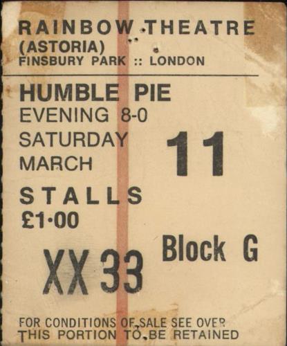 Humble Pie Rainbow Theatre 1972 concert ticket UK HMBTIRA731997