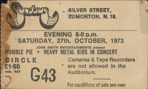 Humble Pie Sundown 1973 concert ticket UK HMBTISU732024