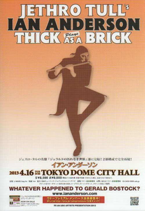 Ian Anderson Plays Thick As A Brick Handbill handbill Japanese IADHBPL636493