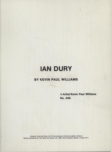 Ian Dury Greeting Card memorabilia UK INDMMGR675372