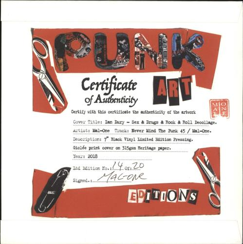 "Ian Dury Sex & Drugs & Rock & Roll - Punk Art sleeve 7"" vinyl single (7 inch record) UK IND07SE708108"