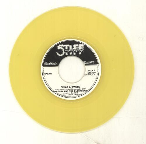 "Ian Dury Wake Up - Yellow vinyl - EX 7"" vinyl single (7 inch record) Belgian IND07WA697774"