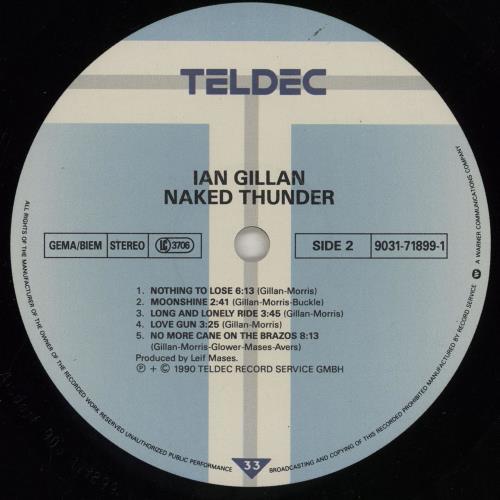 Ian Gillan Naked Thunder + Lyric inner/Stickered/Misprint vinyl LP album (LP record) German GILLPNA760804