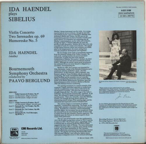 Ida Haendel Violin Concerto / Two Serenades / Humoreske No.5 vinyl LP album (LP record) UK ID8LPVI703328