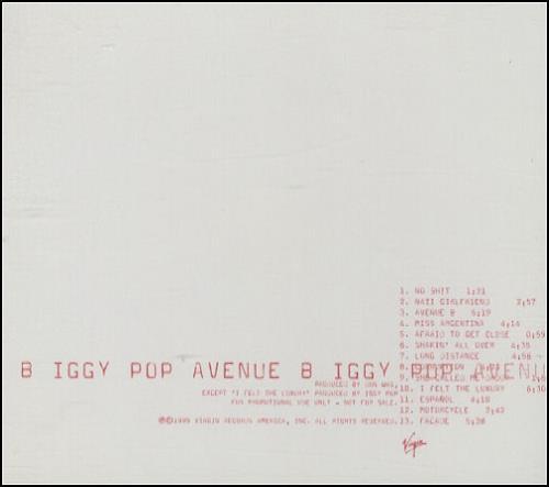 Iggy Pop Avenue B CD album (CDLP) US IGGCDAV145166