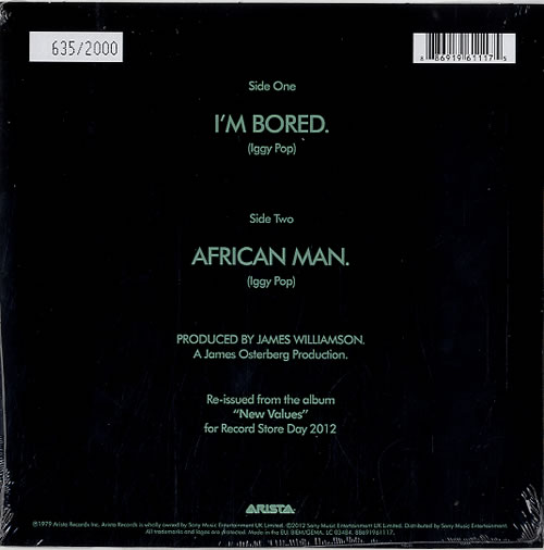 "Iggy Pop I'm Bored - RSD12 - Green Vinyl + Numbered Sleeve - Sealed 7"" vinyl single (7 inch record) UK IGG07IM620943"