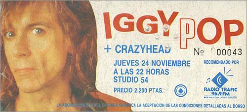 Iggy Pop Spanish Concert Ticket concert ticket Spanish IGGTISP401826