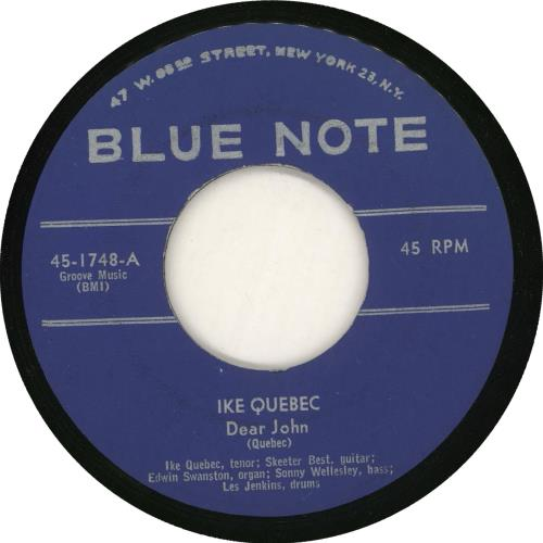 "Ike Quebec Dear John 7"" vinyl single (7 inch record) US IKQ07DE725891"