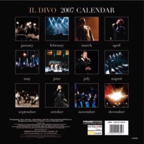 Il Divo Official Calendar 2007 calendar UK IDICAOF362675