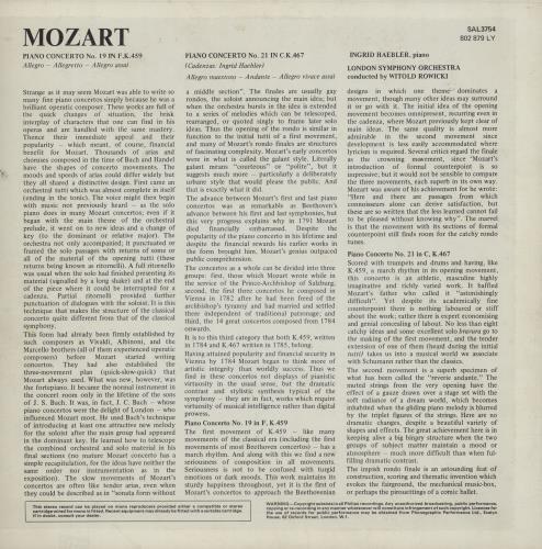 Ingrid Haebler Mozart: Piano Concerto No. 19 in F Major, K.459 / Piano Concerto No. 21 in C Major, K.467 vinyl LP album (LP record) UK QN4LPMO761702