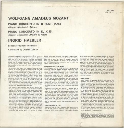 Ingrid Haebler Mozart: Piano Concertos K.450 - K.451 vinyl LP album (LP record) UK QN4LPMO699746