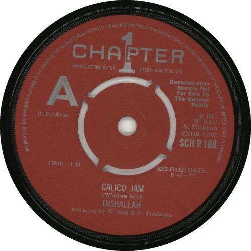 "Inshallah Calico Jam - A Label 7"" vinyl single (7 inch record) UK 0NS07CA728203"