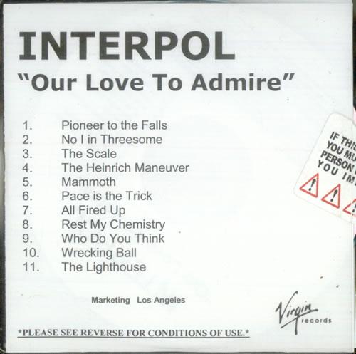 Interpol Our Love To Admire CD-R acetate US ITPCROU539337