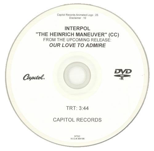 Interpol The Heinrich Maneuver promo DVD-R US ITPDRTH512053