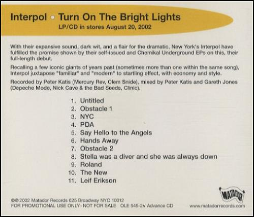 Interpol Turn On The Bright Lights CD album (CDLP) US ITPCDTU432424