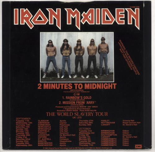 "Iron Maiden 2 Minutes To Midnight - EX 12"" vinyl single (12 inch record / Maxi-single) UK IRO12MI600203"