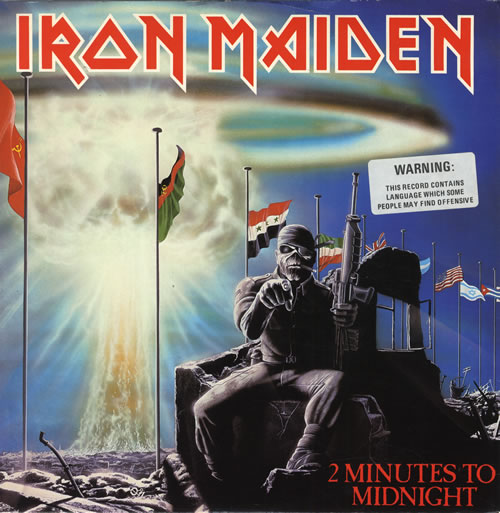 "Iron Maiden 2 Minutes To Midnight - 'Warning' stickered 12"" vinyl single (12 inch record / Maxi-single) UK IRO12MI558269"