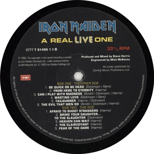 Iron Maiden A Real LIVE One vinyl LP album (LP record) UK IROLPAR221647