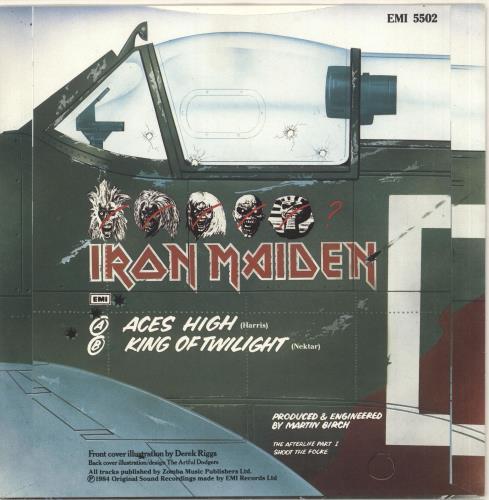 "Iron Maiden Aces High - Paper label 7"" vinyl single (7 inch record) UK IRO07AC37564"