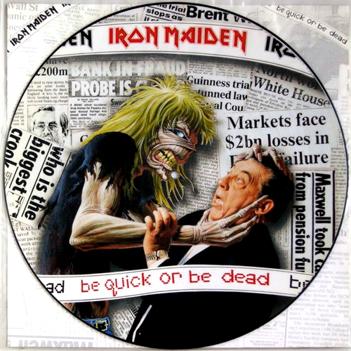 """Iron Maiden Be Quick Or Be Dead + Back Insert 12"""" vinyl picture disc 12inch picture disc record UK IRO2PBE04847"""