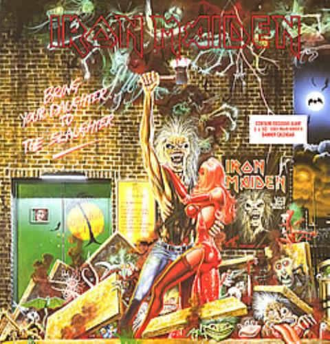 """Iron Maiden Bring Your Daughter To The Slaughter + calendar 12"""" vinyl single (12 inch record / Maxi-single) UK IRO12BR00688"""