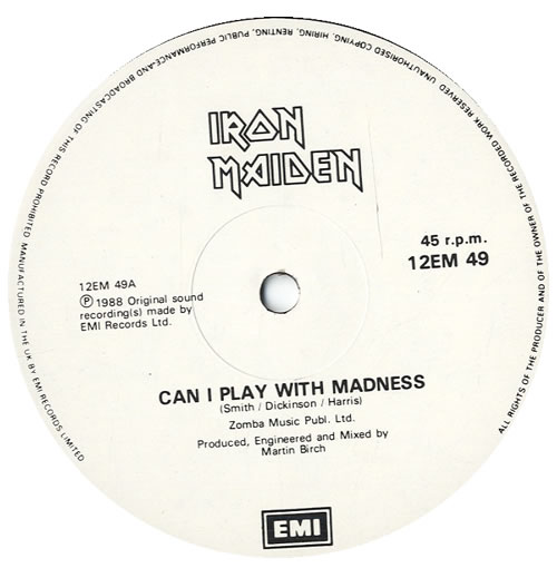 """Iron Maiden Can I Play With Madness - White Label With Black Text 12"""" vinyl single (12 inch record / Maxi-single) UK IRO12CA563839"""