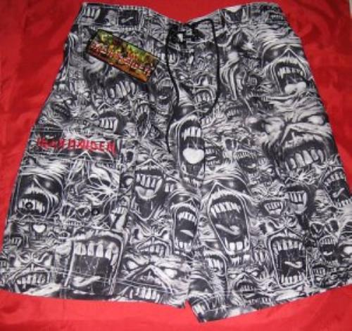 ce41e28fac707 IRON MAIDEN Eddie Board Shorts (2001 US officially licensed 100% polyester  knee-length black & white board shorts with a stunning all-over  screaming-Eddie ...