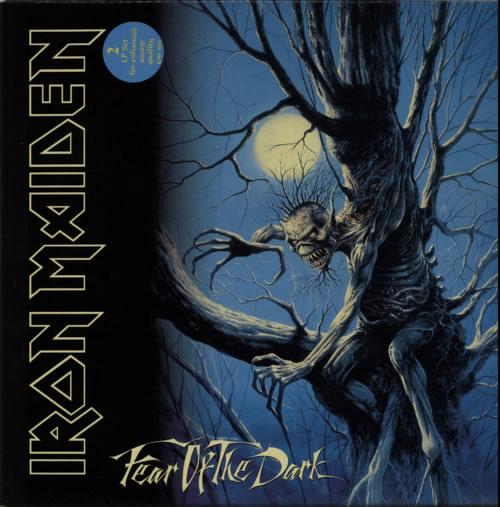 Iron Maiden Fear Of The Dark + Stickered & Insert 2-LP vinyl record set (Double Album) UK IRO2LFE91500