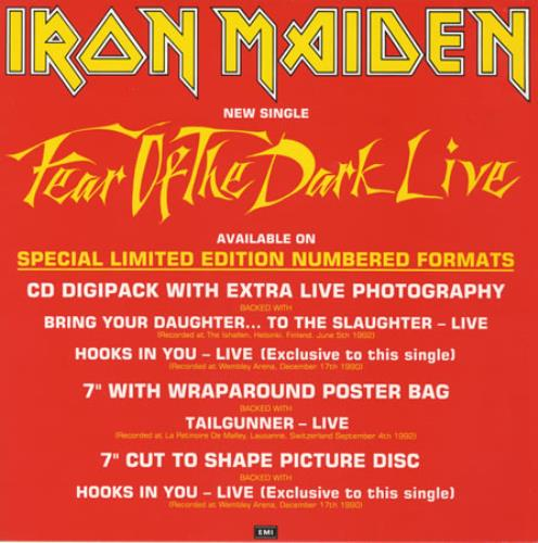 Iron Maiden Fear Of The Dark Live - Display Flat display UK IRODIFE25718