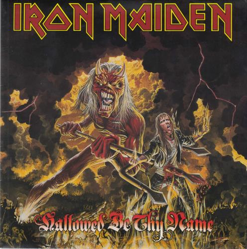 "Iron Maiden Hallowed Be Thy Name - Red Vinyl Poster Slv 7"" vinyl single (7 inch record) UK IRO07HA22500"