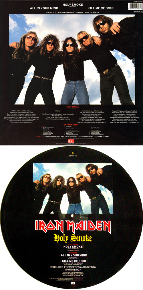 """Iron Maiden Holy Smoke + Insert 12"""" vinyl picture disc 12inch picture disc record UK IRO2PHO00708"""