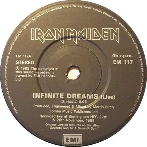 "Iron Maiden Infinite Dreams 7"" vinyl single (7 inch record) UK IRO07IN52615"