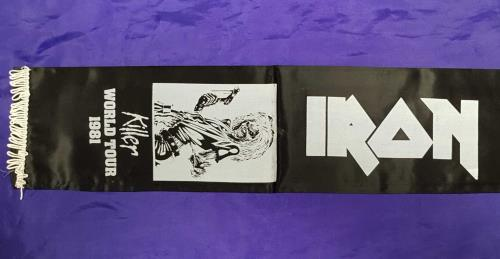 Iron Maiden Killer World Tour 1981 - black & white Scarf memorabilia UK IROMMKI713708