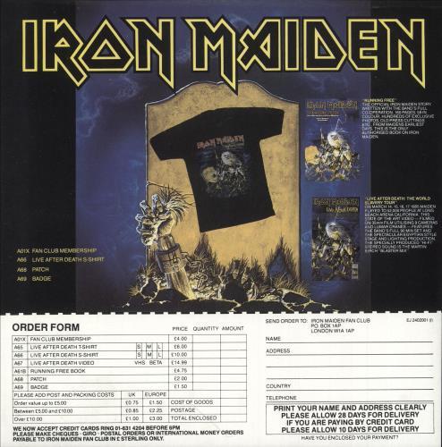 Iron Maiden Live After Death + Booklet & Merch Insert 2-LP vinyl record set (Double Album) UK IRO2LLI568582