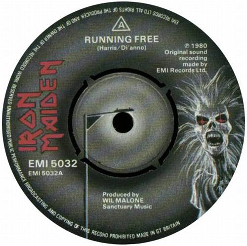 "Iron Maiden Running Free 7"" vinyl single (7 inch record) UK IRO07RU567868"