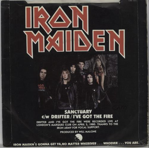 "Iron Maiden Sanctuary - Censored P/S - EX 7"" vinyl single (7 inch record) UK IRO07SA229002"