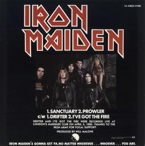 "Iron Maiden Sanctuary - Uncensored - EX 12"" vinyl single (12 inch record / Maxi-single) Dutch IRO12SA257118"