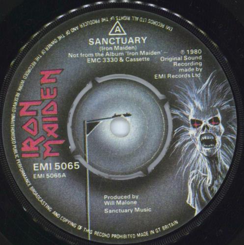 "Iron Maiden Sanctuary 7"" vinyl single (7 inch record) UK IRO07SA569644"