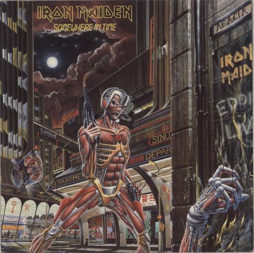 Iron Maiden Somewhere In Time + Insert - EX vinyl LP album (LP record) UK IROLPSO767388