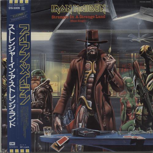 "Iron Maiden Stranger In A Strange Land + Obi & Poster 12"" vinyl single (12 inch record / Maxi-single) Japanese IRO12ST163453"