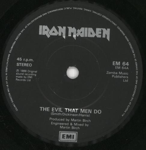 "Iron Maiden The Evil That Men Do - P/S - Paper Labels 7"" vinyl single (7 inch record) UK IRO07TH673074"
