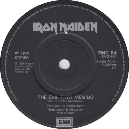 "Iron Maiden The Evil That Men Do - Solid - Gatefold 7"" vinyl single (7 inch record) UK IRO07TH659267"