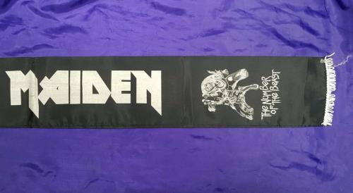Iron Maiden The Number Of The Beast - black Scarf white tassels memorabilia UK IROMMTH713711