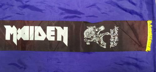 Iron Maiden The Number Of The Beast - black Scarf yellow tassels memorabilia UK IROMMTH713710