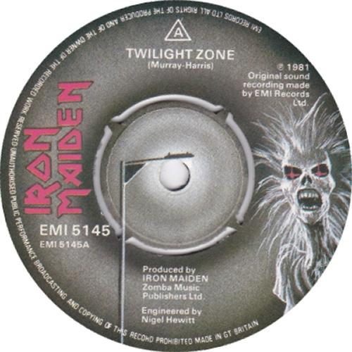 "Iron Maiden Twilight Zone / Wrathchild - Black Vinyl 7"" vinyl single (7 inch record) UK IRO07TW563804"