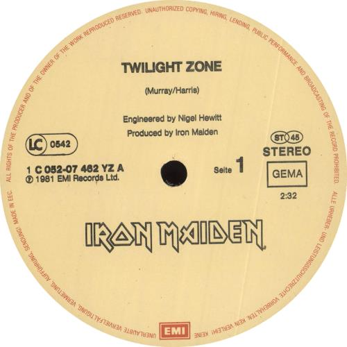 "Iron Maiden Twilight Zone - VG 12"" vinyl single (12 inch record / Maxi-single) German IRO12TW713845"